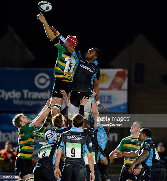 Northampton's Christian Day and Glasgow's Leone Nakarawa battle for the ball in the lineout at Scotstoun Stadium on November 21 2015 in Glasgow...