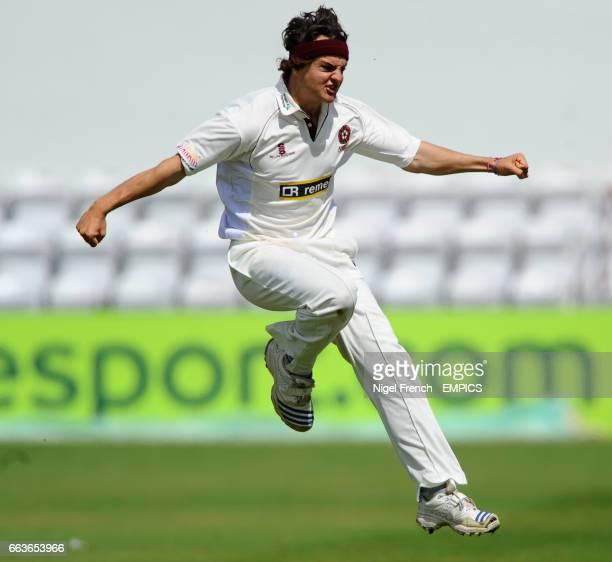 Northampton's Jack Brooks celebrates after bowling Australia's Andrew MacDonald for 32