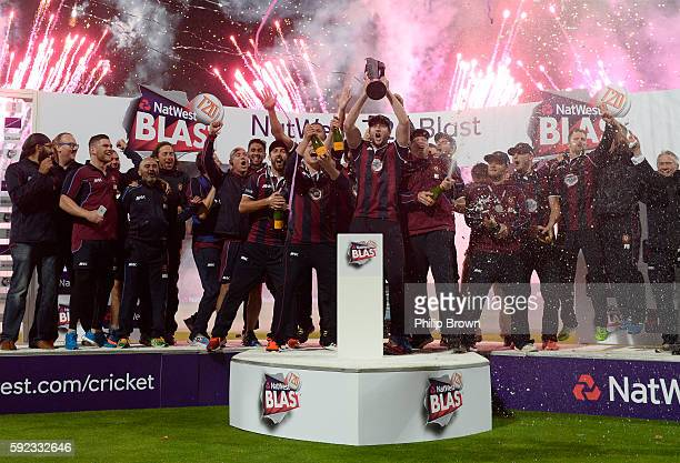 Northamptonshire celebrate after winning the Natwest T20 Blast final between Northamptonshire and Durham at Edgbaston cricket ground on August 20,...
