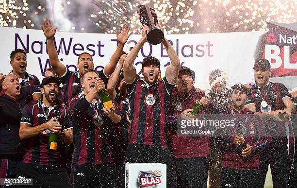Northamptonshire lift the trophy after winning NatWest t20 Blast Final between Northamptonshire and Durham at Edgbaston on August 20, 2016 in...