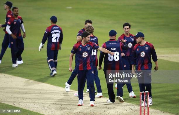 Northamptonshire Steelbacks celebrate after their victory during the T20 Vitality Blast match between Northamptonshire Steelbacks and Birmingham...