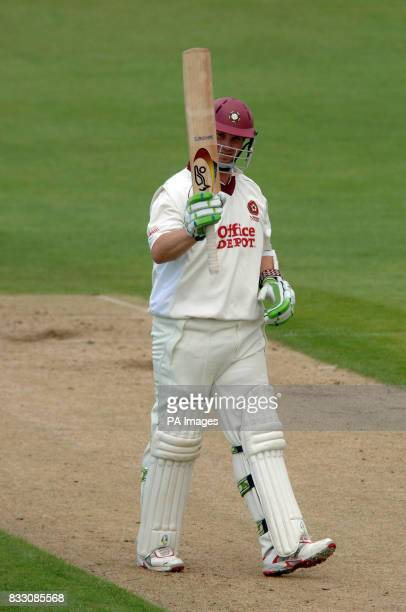 Northamptonshire's David Sales celebrates reaching his 50 during the Liverpool Victoria County Championship Division Two match at The County Cricket...