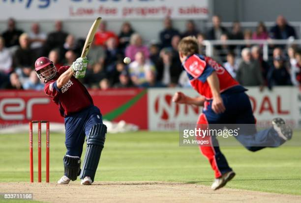 Northamptonshire's David Sales who finished on 61 not out hits a boundary past the bowler Gareth Andrew during the North Division Twenty20 Cup match...