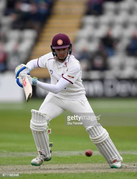 Northants batsman Max Holden hits out during day one of the Specsavers County Championship Division Two at New Road on April 21 2017 in Worcester...