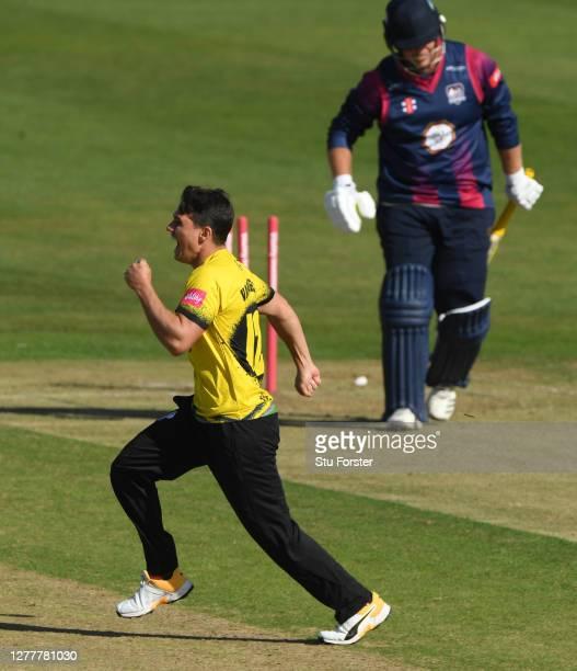 Northants batsman Richard Levi is bowled by Graeme van Buuren who races off to celebrate during the T20 Vitality Blast Quarter Final match between...