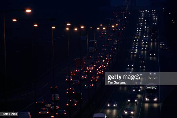 Northbound and southbound traffic on M1 Motorway near Hertfordshire United Kingdom