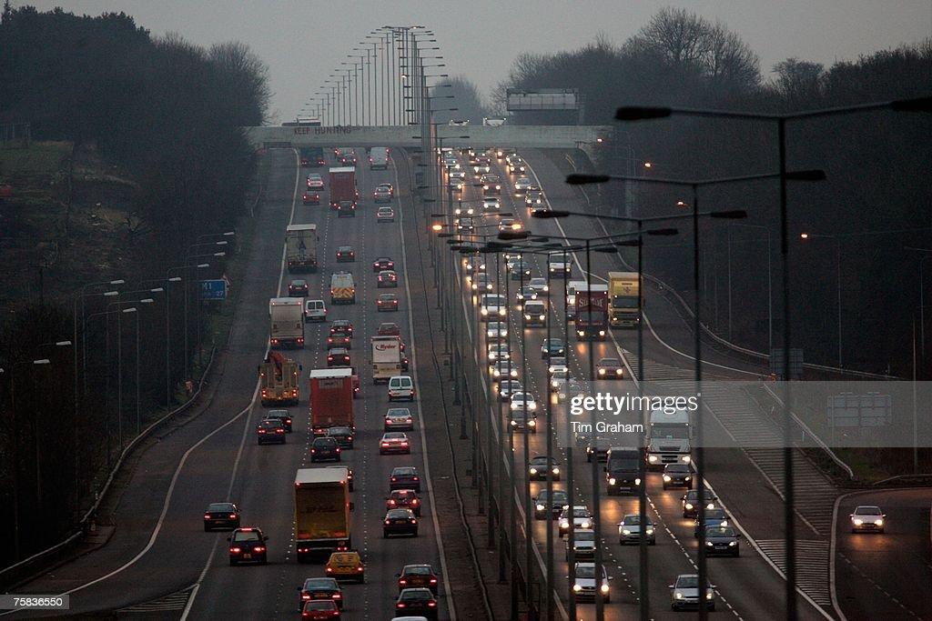 Traffic On M1 Motorway, England, UK : News Photo
