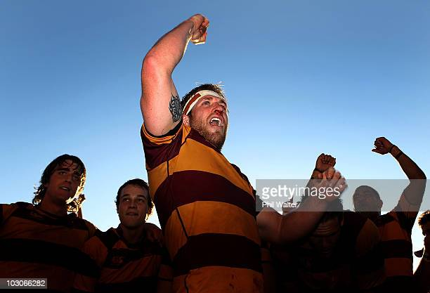 Northcote captain Richard Mayhew celebrates his sides win following the North Harbour Club Rugby Final between Northcote and North Shore at North...