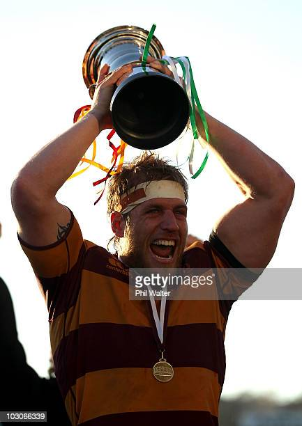 Northcote captain Richard Mayhew celebrates his sides win with the ASB Bank Cup following the North Harbour Club Rugby Final between Northcote and...