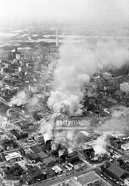 Northeast DC is on fire during riots following the assassination of civil rights leader Martin Luther King Washington DC April 5 1968