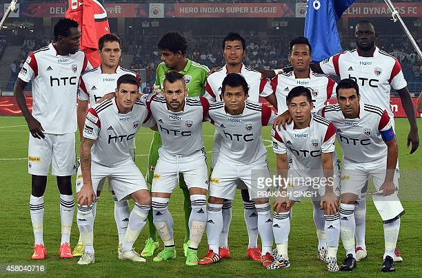 NorthEast United FC players pose prior to their Indian Super League football match against Delhi Dynamocs FC in New Delhi on October 29 2014 AFP...