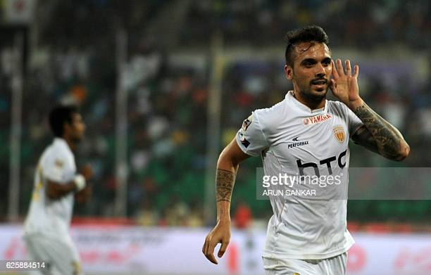 NorthEast United FC's MIdfielder Nicolas Velez celebrates after scoring a goal against Chennaiyin FC's during the Indian Super League football match...
