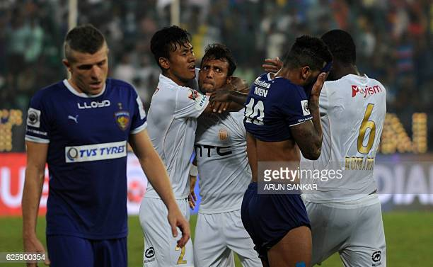 NorthEast United FC's MIdfielder Shouvik Gosh Celebrates after scoring a goal against Chennaiyin FC's during the Indian Super League football match...