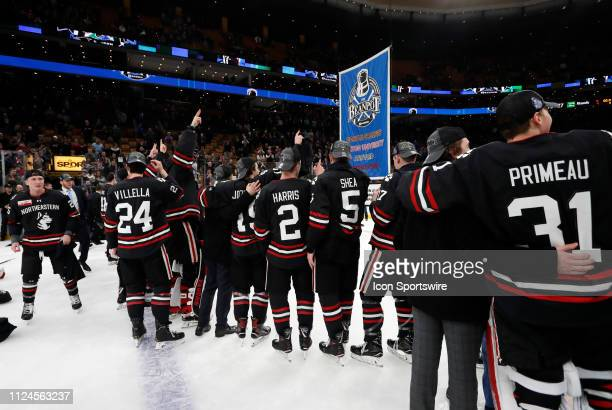 Northeastern celebrates their second Beanpot in a row during the 2019 Beanpot Championship Game between the Boston College Eagles and the...