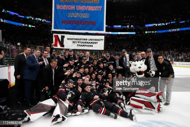 Northeastern celebrates winning their second Beanpot in a row the 2019 Beanpot Championship Game between the Boston College Eagles and the...