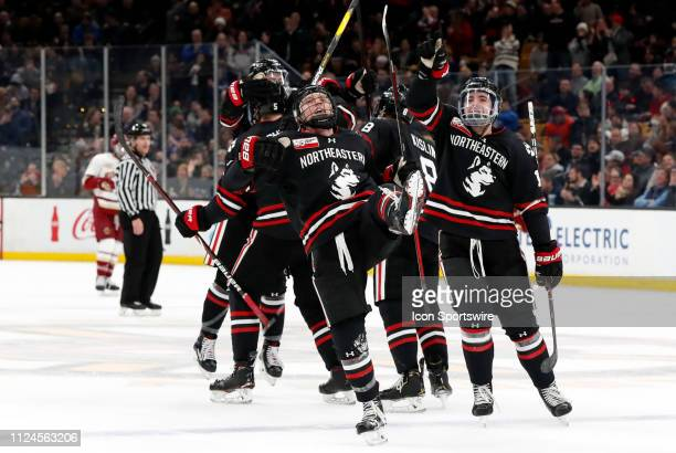 Northeastern forward Patrick Schule celebrates scoring during the 2019 Beanpot Championship Game between the Boston College Eagles and the...