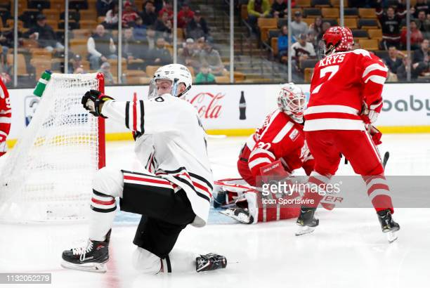 Northeastern forward Tyler Madden celebrates tying the game early in the third period during a Hockey East semifinal game between the Boston...