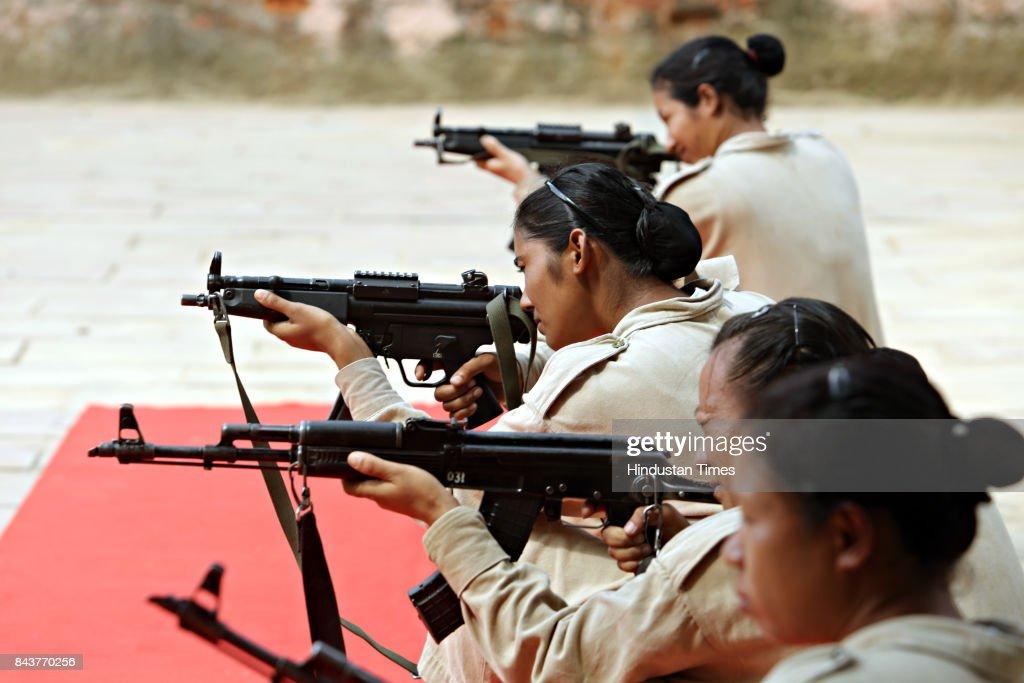 Northeastern girls getting commando training at the Delhi Police Training Centre, Jharoda Kalan on September 4, 2017 in New Delhi, India.