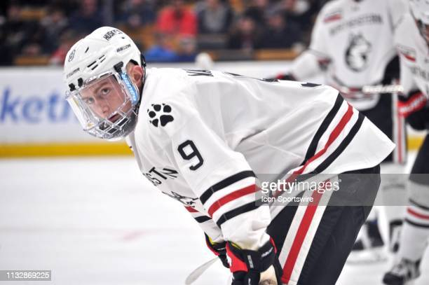 Northeastern Huskies forward Tyler Madden skates up to take the face off. During the Northeastern Huskies game against the Boston University Terriers...