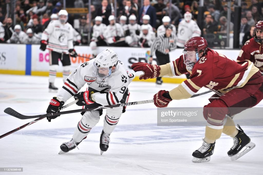 new styles 738f7 675cb Northeastern Huskies forward Tyler Madden tries to keep the ...