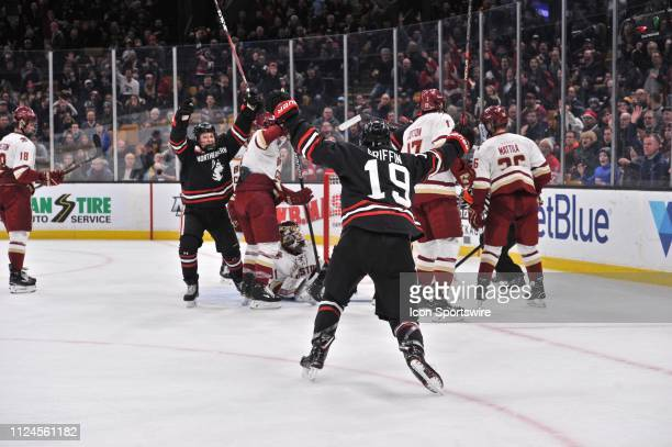 Northeastern Huskies forward Zach Solow and Northeastern Huskies forward Lincoln Griffin celebrate the first goal of the game During the Northeastern...