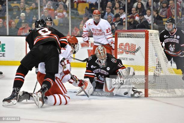 Northeastern Huskies goaltender Cayden Primeau makes a nice save During the Northeastern Huskies game against the Boston University Terriers at TD...