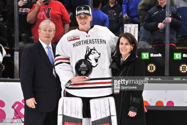 Northeastern Huskies goaltender Cayden Primeau wins the Most Valuable Player award for the tournament. During the Hockey East Championship game...