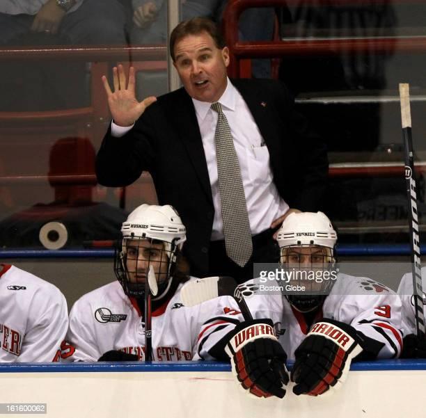 Northeastern Huskies men's ice hockey head coach Jim Madigan as Northeastern plays Merrimack at Matthews Arena.