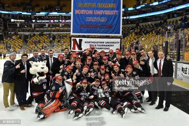 Northeastern Huskies the 2018 Beanpot Tournament winners. During the Northeastern Huskies game against the Boston University Terriers at TD Garden on...