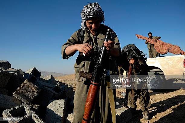Female fighters of the Kurdistan Workers Party PKK on the frontline with ISIL in tourtskirts of the village of Makhmur near Mosul in Iraq