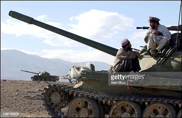 Northern Alliance Troops Opposite Al Qaida Bases Under Fire Of American Air Strikes On September 12Th 2001 In Tora Bora Afghanistan