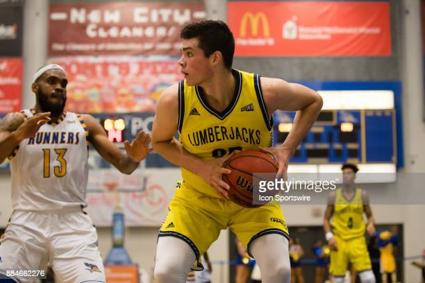 Northern Arizona Lumberjacks forward Brooks Debisschop looks to pass the ball during the game between the Cal State Bakersfield and Northern Arizona...