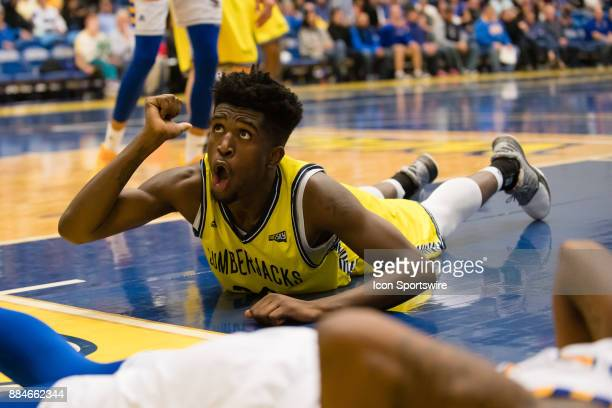 Northern Arizona Lumberjacks forward Isaiah Thomas reacts after diving for a loose ball during the game between the Cal State Bakersfield and...
