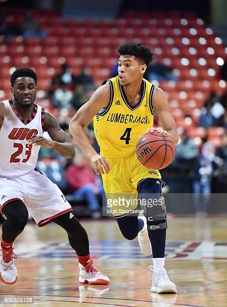 Northern Arizona Lumberjacks guard JoJo Anderson handles the ball during a NCAA basketball between Northern Arizona Lumberjacks and the...