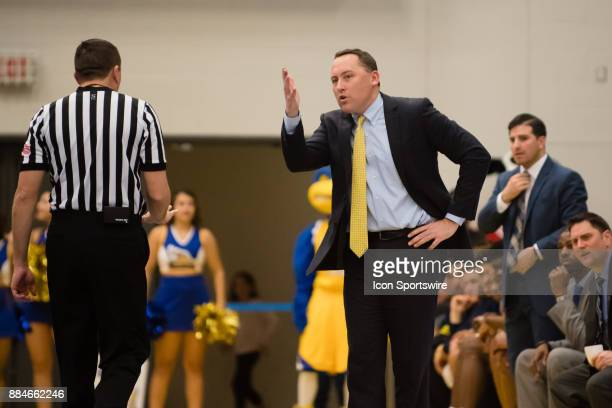 Northern Arizona Lumberjacks head coach Jack Murphy argues a call with an official during the game between the Cal State Bakersfield and Northern...