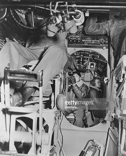 Northern AtlanticA view from the pilot's control looking amidships in the radio and navigation section of one of the planes of the US Navy Atlantic...