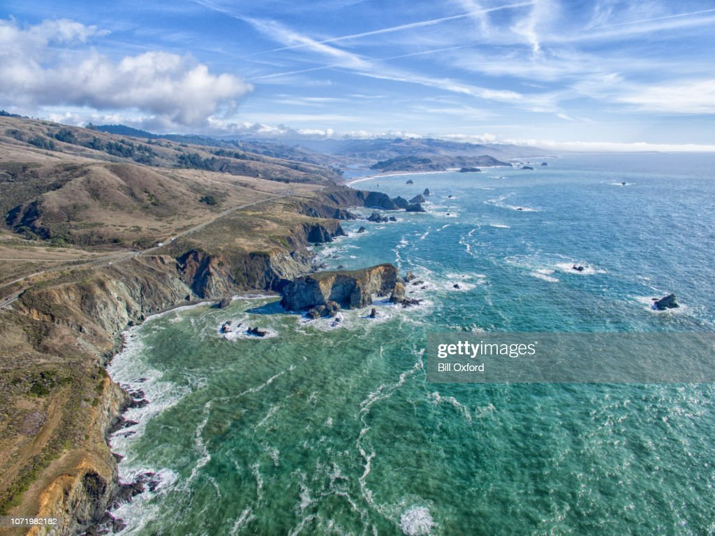 Northern California coastal aerial drone view of Pacific Ocean seascape : Stock Photo