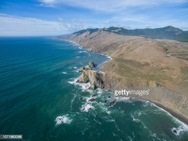 Northern California coastal aerial drone view of Pacific Ocean seascape