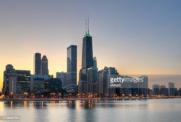 Northern Chicago Skyline at Sunset