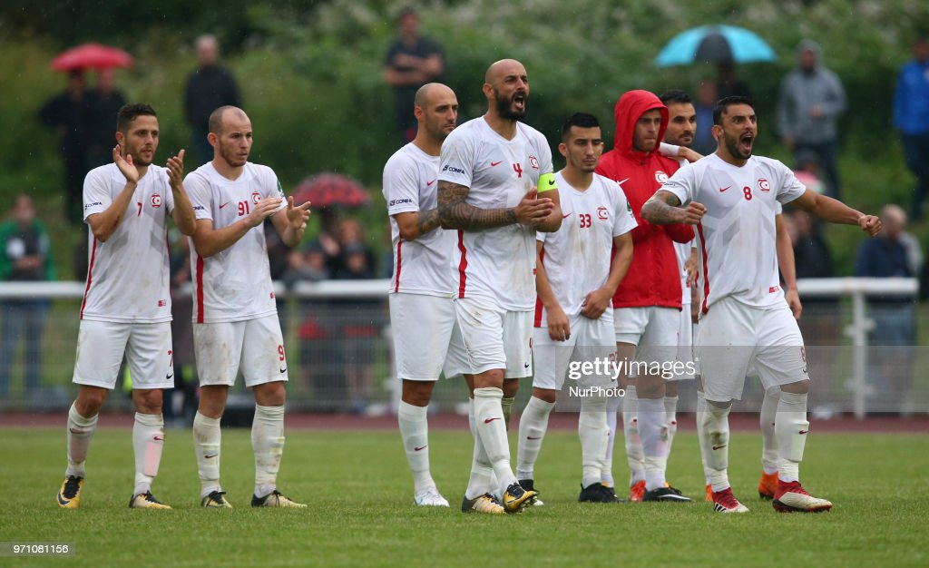 Northern Cyprus players during Conifa Paddy Power World Football Cup 2018 Grand Final between Northern Cyprus against Karpatalya at Queen Elizabeth II Stadium (Enfield Town FC), London, on 09 June 2018