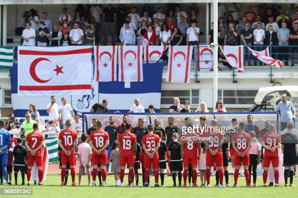 Northern Cyprus players line up prior to the start of during the CONIFA World Football Cup 2018 match between Abkhazia and Northern Cyprus at Enfield...
