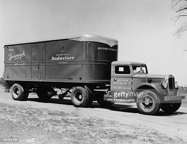 Northern Distributing Company lorry transports Budweiser lager around the United States, circa 1960.