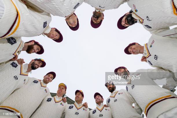 Northern Districts huddle prior to the Plunket Shield match between Canterbury and Northern Districts at Hagley Oval on October 21 2019 in...