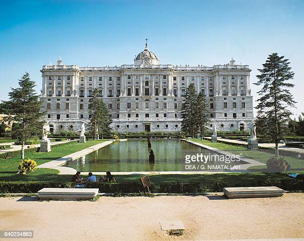 Northern facade of the Royal Palace of Madrid architects Filippo Juvarra and Giovanni Battista Sacchetti with the basin in the Sabatini gardens in...