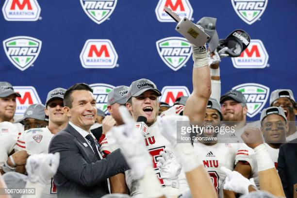 Northern Illinois Huskies defensive end Sutton Smith celebrates after being named the Most Outstanding Defensive Player of the Game during the...