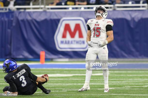Northern Illinois Huskies defensive end Sutton Smith celebrates sacking Buffalo Bulls quarterback Tyree Jackson during the MidAmerican Conference...