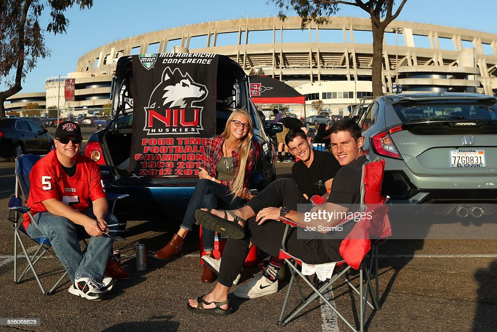 Northern Illinois Huskies fans tailgate in front of Qualcomm Stadium prior to the Northern Illinois v San Diego State game at Qualcomm Stadium on September 30, 2017 in San Diego, California.