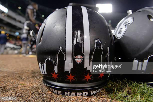 Northern Illinois Huskies football helmet during a MidAmerican Conference football game between the Toledo Rockets and Northern Illinois Huskies on...