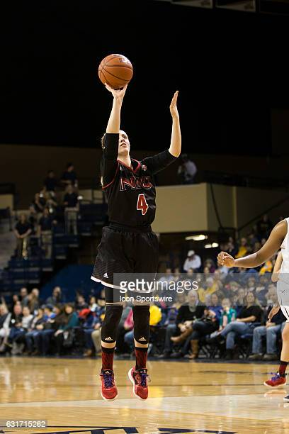Northern Illinois Huskies guard Courtney Woods shoots a jump shot during a regular season basketball game between the Northern Illinois Huskies and...
