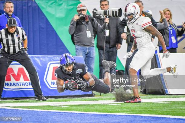 Northern Illinois Huskies wide receiver Rod Alexander II can't come up with this long pass on the sidelines during the Northern Illinois Huskies...